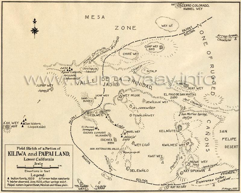 NATIVE AMERICAN KILIWA PAIPAI MAPA 1920s Historical Map Northern – Map Northern Mexico