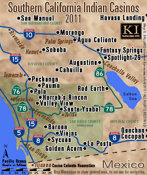 map of all san diego native american indian casinos in southern california